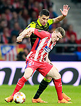 Atletico de Madrid's Kevin Gameiro (f) and Sporting Clube de Portugal's Rodrigo Battaglia during Europa League Quarter-finals, 1st leg. April 5,2018. (ALTERPHOTOS/Acero)