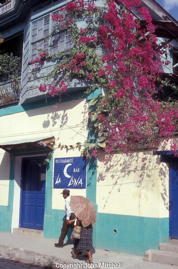 Street scene in Flores, an island town in Lake Peten Itza, El Peten, Guatemala