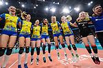 24.02.2019, SAP Arena, Mannheim<br /> Volleyball, DVV-Pokal Finale, SSC Palmberg Schwerin vs. Allianz MTV Stuttgart<br /> <br /> Jubel Schwerin nach Matchball / Sieg<br /> Tessa Polder (#5 Schwerin), Greta Szakmary (#1 Schwerin), Nanaka Sakamoto (#9 Schwerin), Ralina Doshkova (#3 Schwerin), Beta Dumancic (#11 Schwerin), Jennifer Geerties (#6 Schwerin), Anna Pogany (#4 Schwerin)<br /> <br />   Foto © nordphoto / Kurth