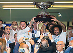 Sergio Ramos of Real Madrid (l) of Real Madrid holds the trophy with teammate Marcelo Vieira Da Silva after winning the Santiago Bernabeu Trophy 2017 match between Real Madrid and ACF Fiorentina at the Santiago Bernabeu Stadium on 23 August 2017 in Madrid, Spain. Photo by Diego Gonzalez / Power Sport Images