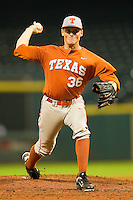 Texas Longhorns starting pitcher Nathan Thornhill #36 delivers a pitch to the plate against the Rice Owls at Minute Maid Park on March 2, 2012 in Houston, Texas.  The Longhorns defeated the Owls 11-8.  (Brian Westerholt/Four Seam Images)