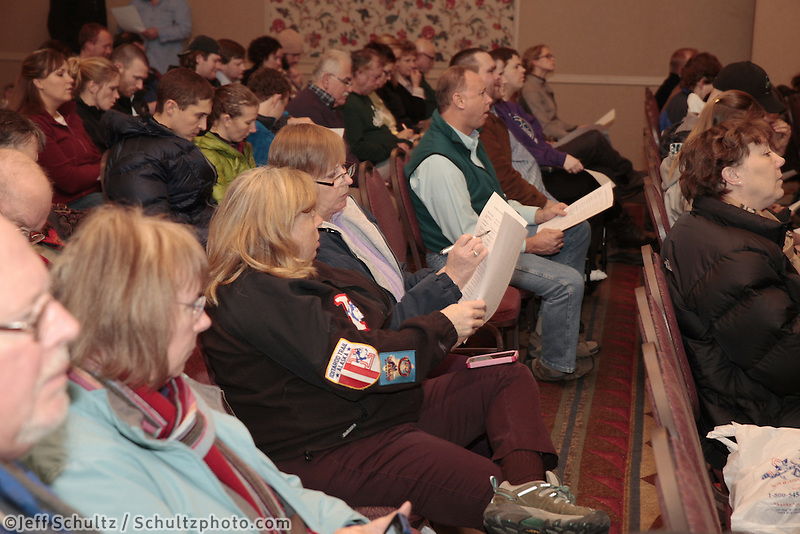 January 8, 2013  Potential and returning Iditarod volunteers gather at the Millenium Hotel Redington Ballroom to discuss volunteer postions for this year's Iditarod race to begin March 2nd in downtown Anchorage.