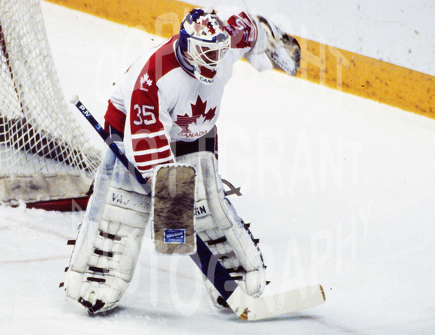 Andy Moog Team Canada 1988. Photo copyright F. Scott Grant