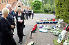 Leslie Rhodes funeral at North East Surrey Crematorium, Morden, Surrey, Great Britain 5th May 2017 <br /> <br /> Amanda Rhodes (Niece) inspects the floral tributes <br /> <br /> Leslie Rhodes was one of the victims of the Westminster terror attack on 22nd March 2017. Mr Rhodes was Winston Churchill's former window cleaner.<br /> <br /> Leslie Rhodes, from south London, suffered serious injuries when terrorist Khalid Masood mowed down pedestrians on Westminster Bridge. The 75-year-old was rushed to King&rsquo;s College Hospital but died there when his life support was withdrawn at about 8.25pm the following day. <br /> <br /> He had been attending an appointment at St Thomas&rsquo;s Hospital before Masood went on a rampage &ndash; killing four and injuring 50 before he was shot dead by police.<br /> <br /> Mr Rhodes, who friends revealed was the former window cleaner of Winston Churchill, suffered broken ribs and a punctured lung in the attack.<br /> <br /> <br /> Photograph by Elliott Franks <br /> Image licensed to Elliott Franks Photography Services