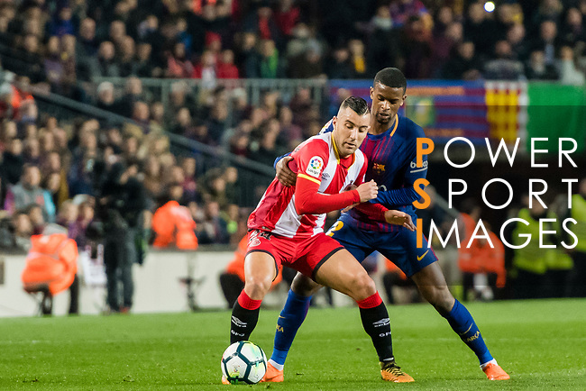 Borja Garcia Freire of Girona FC (L) fights for the ball with Nelson Cabral Semedo of FC Barcelona (R) in action during the La Liga 2017-18 match between FC Barcelona and Girona FC at Camp Nou on 24 February 2018 in Barcelona, Spain. Photo by Vicens Gimenez / Power Sport Images