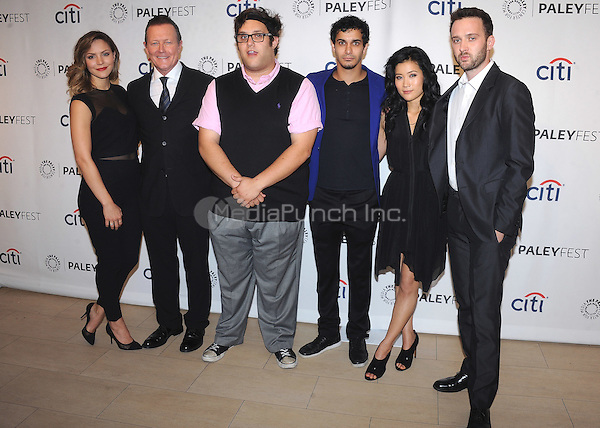 "BEVERLY HILLS, CA - SEPTEMBER 7:   Cast of CBS's ""Scorpion"" (Katherine McPhee, Robert Patrick, Ari Stidham, Elyes Gabel, Jadyn Wong and Eddie Kaye) at the 10th Annual PaleyFest Fall Preview of CBS's ""Scorpion"" at the Paley Center for the Media on September 7, 2014 in Beverly Hills, California. Credit: PGSK/MediaPunch"