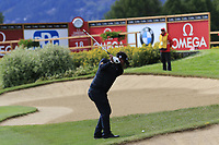 Thongchai Jaidee (THA) plays his 2nd shot on the 17th hole during Sunday's Final Round of the 2017 Omega European Masters held at Golf Club Crans-Sur-Sierre, Crans Montana, Switzerland. 10th September 2017.<br /> Picture: Eoin Clarke | Golffile<br /> <br /> <br /> All photos usage must carry mandatory copyright credit (&copy; Golffile | Eoin Clarke)