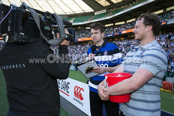 Greg James and Jack Wilson of Bath Rugby during the half-time raffle. The Clash, Aviva Premiership match, between Bath Rugby and Leicester Tigers on April 8, 2017 at Twickenham Stadium in London, England. Photo by: Rogan Thomson / JMP for Onside Images