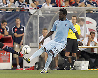 Sporting Kansas City midfielder Kei Kamara (23) pass is blocked. In a Major League Soccer (MLS) match, Sporting Kansas City defeated the New England Revolution, 1-0, at Gillette Stadium on August 4, 2012.