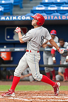 Steve Susdorf (8) of the Clearwater Threshers during a game vs. the St. Lucie Mets May 30 2010 at Digital Domain Park, Port St. Lucie Florida. St. Lucie won the game against Clearwater by the score of 3-2. Photo By Scott Jontes/Four Seam Images