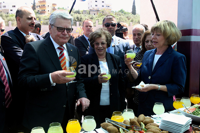 German President Joachim Gauck attend the inauguration ceremony of a German-funded girls' school West Bank village of Burin, south of Nablus, on May 31, 2012 . Photo by Wagdi Eshtayah