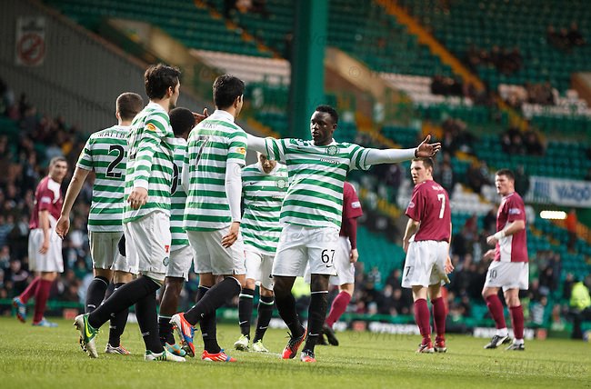 Celtic celebrate as Arbroath put the ball in their own net for an OG