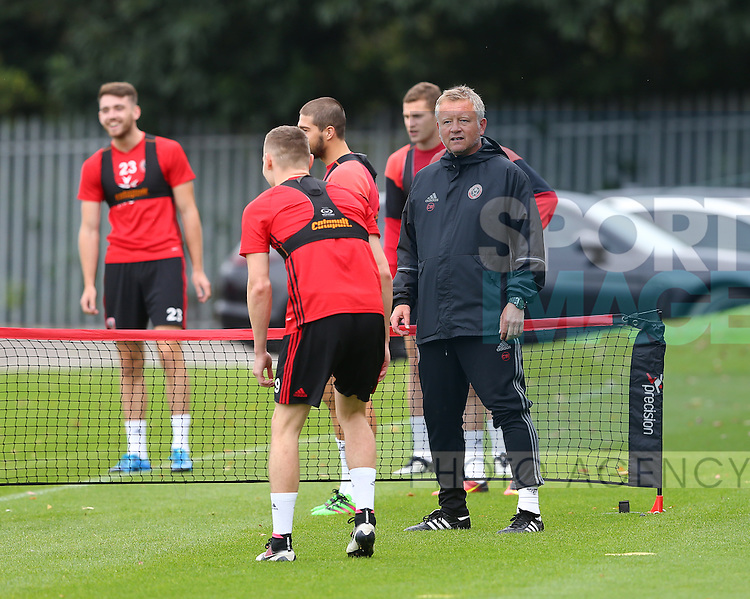 Chris Wilder manager of Sheffield Utd during the Sheffield Utd training session at the Shirebrook training complex, Sheffield. Picture date: 2nd September 2016. Picture Simon Bellis/Sportimage