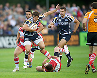 20120803 Copyright onEdition 2012©.Free for editorial use image, please credit: onEdition.Tom Brady of Sale Sharks is tackled by Dave Lewis of Gloucester Rugby at The Recreation Ground, Bath in the Final round of The J.P. Morgan Asset Management Premiership Rugby 7s Series...The J.P. Morgan Asset Management Premiership Rugby 7s Series kicked off again for the third season on Friday 13th July at The Stoop, Twickenham with Pool B being played at Edgeley Park, Stockport on Friday, 20th July, Pool C at Kingsholm Gloucester on Thursday, 26th July and the Final being played at The Recreation Ground, Bath on Friday 3rd August. The innovative tournament, which involves all 12 Premiership Rugby clubs, offers a fantastic platform for some of the country's finest young athletes to be exposed to the excitement, pressures and skills required to compete at an elite level...The 12 Premiership Rugby clubs are divided into three groups for the tournament, with the winner and runner up of each regional event going through to the Final. There are six games each evening, with each match consisting of two 7 minute halves with a 2 minute break at half time...For additional images please go to: http://www.w-w-i.com/jp_morgan_premiership_sevens/..For press contacts contact: Beth Begg at brandRapport on D: +44 (0)20 7932 5813 M: +44 (0)7900 88231 E: BBegg@brand-rapport.com..If you require a higher resolution image or you have any other onEdition photographic enquiries, please contact onEdition on 0845 900 2 900 or email info@onEdition.com.This image is copyright the onEdition 2012©..This image has been supplied by onEdition and must be credited onEdition. The author is asserting his full Moral rights in relation to the publication of this image. Rights for onward transmission of any image or file is not granted or implied. Changing or deleting Copyright information is illegal as specified in the Copyright, Design and Patents Act 1988. If you are in any way unsure of your right to publish th
