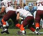 09 September 2006: Virginia Tech's Sean Glennon (7) fumbles the ball. The University of North Carolina Tarheels lost 35-10 to the Virginia Tech Hokies at Kenan Stadium in Chapel Hill, North Carolina in an Atlantic Coast Conference NCAA Division I College Football game.