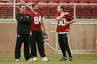 21 April 2007: Matt Doyle, Brent Jones and an alumni during the alumni's 38-33 victory over the coaching staff during a flag football exhibition at Stanford Stadium in Stanford, CA.