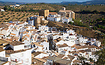 Pueblos blancos high density whitewashed buildings at Setenil de las Bodegas, Cadiz province, Spain