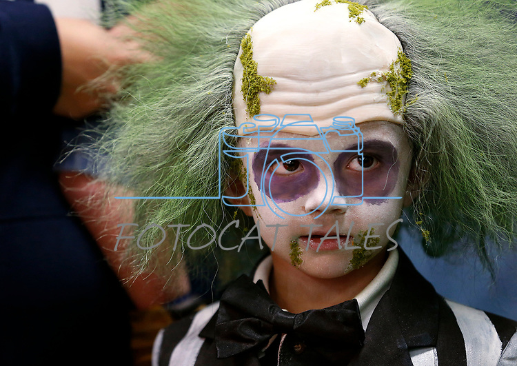 Bennett Aleman, 4, competes in a costume contest during the Boo-nanza event at the Carson City Library, in Carson City, Nev., on Tuesday, Oct. 30, 2018. <br /> Photo by Cathleen Allison/Nevada Momentum