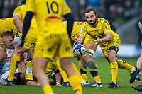 24th November 2019; AJ Bell Stadium, Salford, Lancashire, England; European Champions Cup Rugby, Sale Sharks versus La Rochelle; Alexi Bales passes the ball to Brock James of La Rochelle - Editorial Use