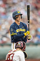 Michigan Wolverines third baseman Blake Nelson (10) at the plate against the Florida State Seminoles during the NCAA College World Series on June 17, 2019 at TD Ameritrade Park in Omaha, Nebraska. Michigan defeated Florida State 2-0. (Andrew Woolley/Four Seam Images)
