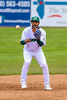 Beloit Snappers shortstop Jesus Lage (7) awaits a throw between innings during a Midwest League game against the Quad Cities River Bandits on May 20, 2018 at Pohlman Field in Beloit, Wisconsin. Beloit defeated Quad Cities 3-2. (Brad Krause/Four Seam Images)