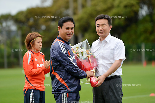 (L to R)  Norio Sasaki (JPN),  Taisuke Miyamoto Mayor of Narashino,.JULY 12, 2012 - Football / Soccer :  Women's Japan National Team Training in Akitsu, Chiba, Japan. (Photo by Jun Tsukida/AFLO SPORT)