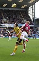 2nd February 2020; Turf Moor, Burnley, Lanchashire, England; English Premier League Football, Burnley versus Arsenal; Granit Xhaka of Arsenal is under pressure from  Ben Mee (C) of Burnley