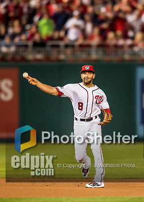 13 October 2016: Washington Nationals shortstop Danny Espinosa gets the third out of the first inning during Game 5 of the NLDS against the Los Angeles Dodgers at Nationals Park in Washington, DC. The Dodgers edged out the Nationals 4-3, to take Game 5 of the Series, 3 games to 2, and move on to the National League Championship Series against the Chicago Cubs. Mandatory Credit: Ed Wolfstein Photo *** RAW (NEF) Image File Available ***