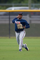 Atlanta Braves Justin Smith (45) during practice before a Minor League Spring Training game against the New York Yankees on March 12, 2019 at New York Yankees Minor League Complex in Tampa, Florida.  (Mike Janes/Four Seam Images)