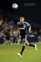 Jason Hernandez (21) defender San Jose Earthquakes heads the ball back to his goalkeeper...Sporting KC defeated San Jose Earthquakes 1-0 at LIVESTRONG Sporting Park, Kansas City ,Kansas,..