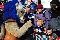 Bath Rugby mascot Maximus mingles with a young supporter in the crowd. Aviva Premiership match, between Bath Rugby and Saracens on December 3, 2016 at the Recreation Ground in Bath, England. Photo by: Patrick Khachfe / Onside Images