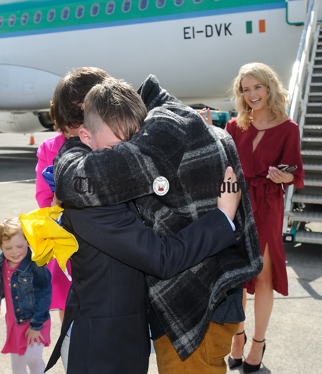 John Burke is greeted by his nephew, an emotional Callum Curtin, on his arrival back to Shannon Airport, following his successful attempt, being the first Clare person ever to climb Mount Everest. Photograph by John Kelly.