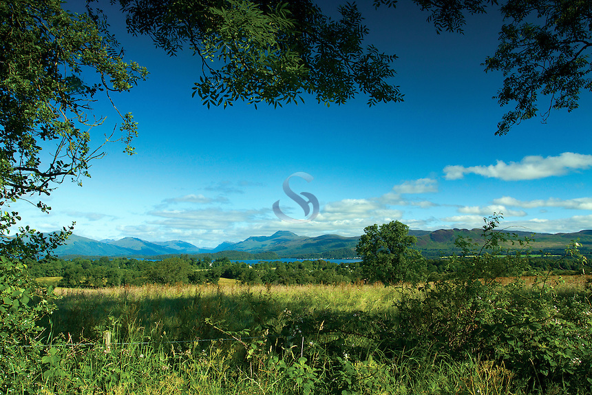 Ben Lomond, the Luss Hills and Loch Lomond National Nature Reserve from Gartocharn, Loch Lomond and the Trossachs National Park