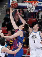 Real Madrid's Mirza Begic (r) and FC Barcelona Regal's Erazem Lorbek during Spanish Basketball King's Cup match.February 07,2013. (ALTERPHOTOS/Acero) /Nortephoto