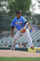 Akron RubberDucks pitcher Enosil Tejeda (26) during game against the Trenton Thunder at ARM & HAMMER Park on July 14, 2014 in Trenton, NJ.  Akron defeated Trenton 5-2.  (Tomasso DeRosa/Four Seam Images)