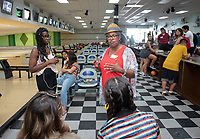 Rhonda Brown, Vice President for Equity & Inclusion and Chief Diversity Officer<br /> Incoming first-years participating in MSI bowl with members of senior staff at All Star Lanes bowling alley in Eagle Rock, July 27, 2018.<br /> The Multicultural Summer Institute (MSI) is a four-week academic/residential program for approximately 50 incoming first-year students who represent a variety of ethnic, regional and cultural backgrounds. Through MSI, Occidental College introduces its student body to the social, cultural and intellectual resources of Southern California, and familiarizes students with the Oxy community and surrounding Los Angeles area.<br /> (Photo by Marc Campos, Occidental College Photographer)
