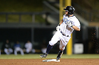 Salt River Rafters second baseman Ryan Brett (8), of the Tampa Bay Rays organization, during an Arizona Fall League game against the Surprise Saguaros on October 15, 2013 at Salt River Fields at Talking Stick in Scottsdale, Arizona.  Surprise defeated Salt River 9-2.  (Mike Janes/Four Seam Images)