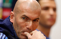 Real Madrid's coach Zinedine Zidane, left, flanked by forward Cristiano Ronaldo, attends a press conference ahead of the Champions League round of 16 first leg football match against Roma, at Rome's Olympic stadium, 16 February 2016.<br /> UPDATE IMAGES PRESS/Riccardo De Luca