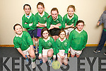 Milltown Listry Team, front l-r Elisha Bradley, Amanda Flynn, Niamh Broderick, Caoimhe O'Donoghue Flynn, Back l-r Caoimhe Burke, Mairead Lehane, Alleen O'Leary and Ciara Tangney at the U13 Boys and Girls Kerry Community Indoor Soccer finals at Mountcoal sports Centre on Sunday