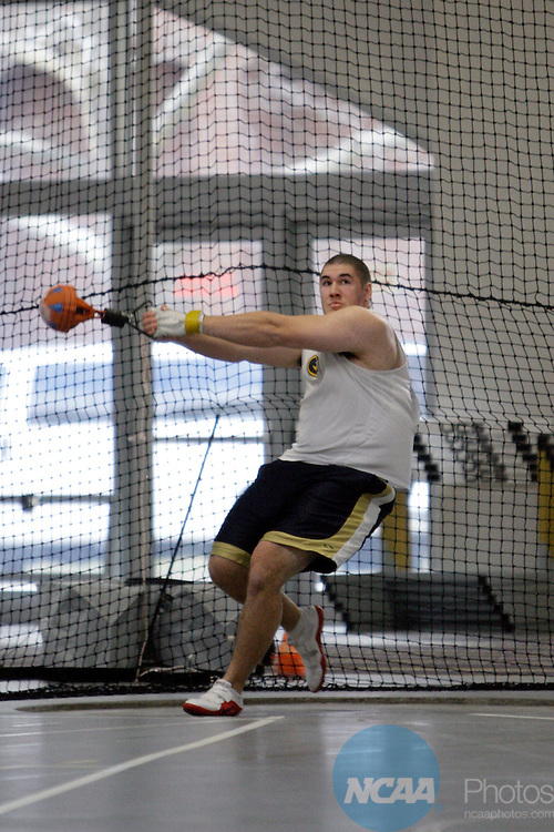 11 MAR 2011: Tony Sigrist of Wisconsin Eau Claire throws during the the Division III Men's and Women's Indoor Track and Field Championships held at the Capital Center Fieldhouse on the Capital University campus in Columbus, OH.  Jay LaPrete/NCAA Photos