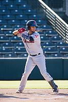 AZL Indians catcher Joshua Rolette (46) bats during a game against the AZL Angels on August 7, 2017 at Tempe Diablo Stadium in Tempe, Arizona. AZL Indians defeated the AZL Angels 5-3. (Zachary Lucy/Four Seam Images)