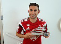 Wednesday 06 May 2015<br /> Pictured: Angel Rangel with his award<br /> Re: Swansea City FC new Adidas kit at Fairwood Training Gorund.