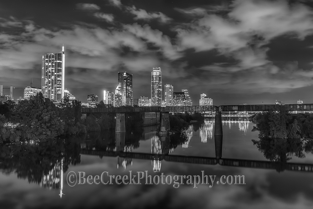 Black & White Downtown Austin from the pedestrian walkway
