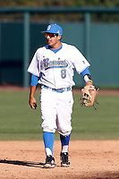 Trent Chatterton #8 of the UCLA Bruins during a baseball game against the Oklahoma Sooners at Jackie Robinson Stadium on March 9, 2013 in Los Angeles, California. (Larry Goren/Four Seam Images)