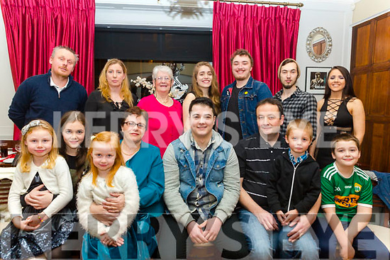 Gary O&rsquo;Brien, seated centre, from Lixnaw  celebrating his 21st Birthday with his family in the Denny Lane restaurant on Friday night last. Seated l-r, Hazel O&rsquo;Brien, Megan Lawlor, Karen O&rsquo;Brien, Grace Lawlor, Birthday boy Gary O&rsquo;Brien, Victor O&rsquo;Brien, Christian Lawlor and Liam O&rsquo;Brien.<br /> Back l-r, Patrick Lawlor, Jennie Lawlor, Kate Goggins, Mary Keane, Ryan Lawlor, Eric Blennerhasset and Danielle Ryan.