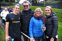 Niko Kirwan (left) with his dad John, mother Fiorella and sister Francesca (right) after the Oceania Football Championship semifinal (second leg) football match between Team Wellington and AS Magenta at David Farrington Park in Wellington, New Zealand on Sunday, 16 April 2017. Photo: Dave Lintott / lintottphoto.co.nz