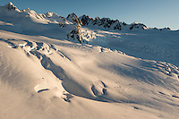 Chamberlin Snowfield on left and Davis Snowfield on right of upper parts of Franz Josef Glacier at sunset with Tusk in between, Westland Tai Poutini National Park, West Coast, UNESCO World Heritage Area, New Zealand, NZ