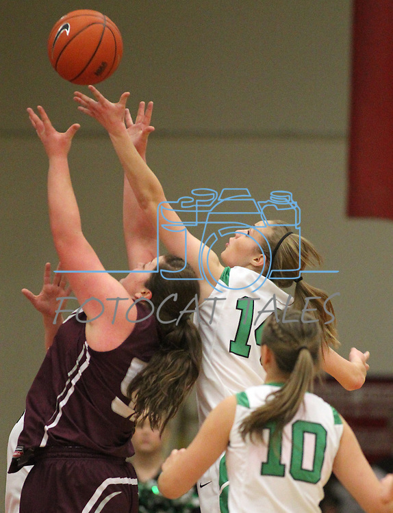 Elko's Anna DuBois and Virgin Valley's Abbie Barnard fight for a loose ball during a semi-final game in the NIAA 3A State Basketball Championships between Virgin Valley and Elko high schools at Reno High School in Reno, Nev, on Friday, Feb. 24, 2012. Elko won 49-32..Photo by Cathleen Allison