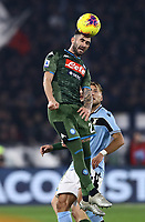 11th January 2020; Stadio Olympico, Rome, Italy; Serie A Football, Lazio versus Napoli; Elseid Hysaj of Napoli clinbs high to win the header - Editorial Use