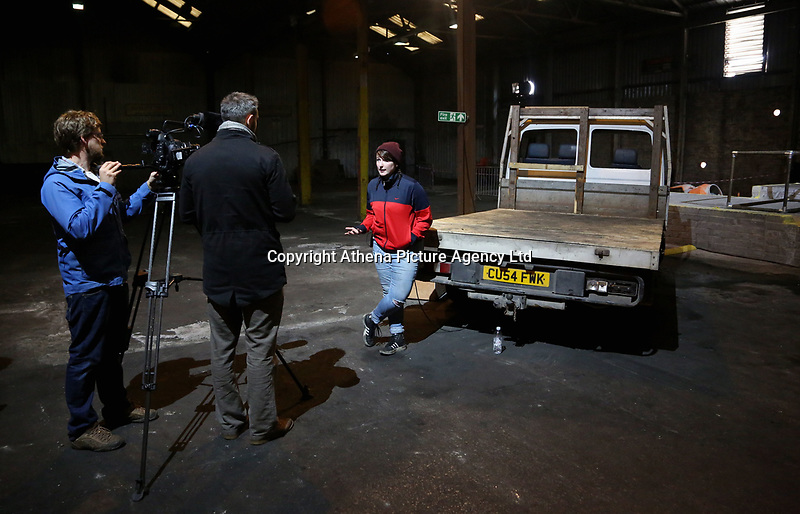 """Pictured: Co director Rhiannon White <br /> Re: Press rehearsal of """"We'Re Still Here"""", a play created by Rachel Trezise, Common Wealth and the National Theatre Wales about steelworkers, which will be performed in Byass Works, a disused industrial unit, in Port Talbot, south Wales, UK."""